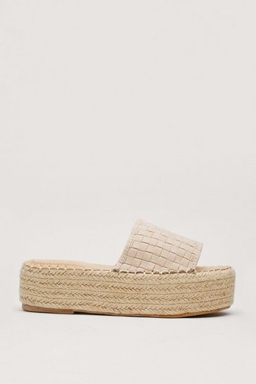 Beige Woven Faux Suede Open Toe Flatform Sandals