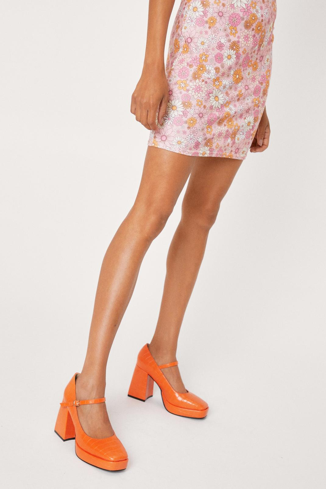 Croc Faux Leather Mary Jane Platform Heels | Nasty Gal