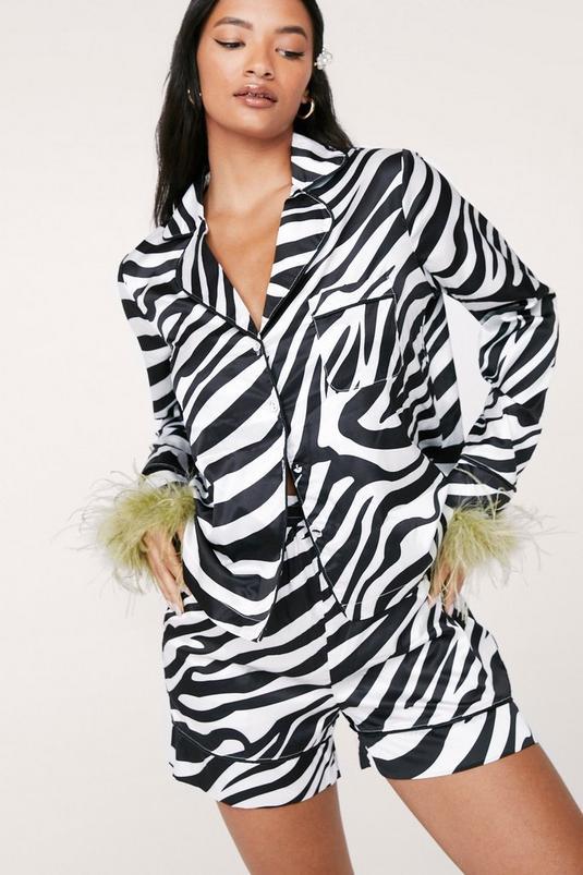Zebra Satin Feather Shirt and Shorts Pajama Set   NastyGal