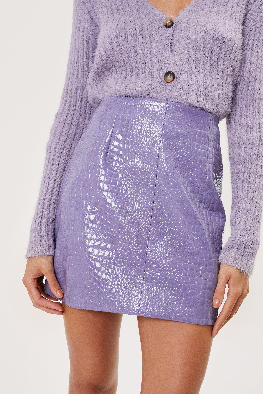 Lilac croc pu mini skirt, £23.40, Nasty Gal