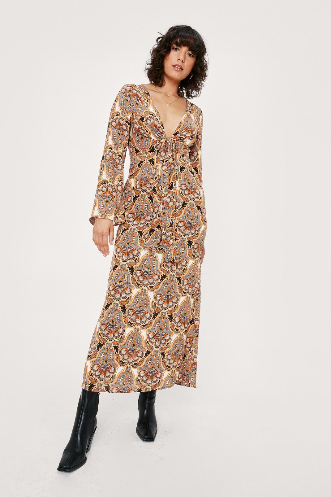 Paisley Tie Front Bell Sleeve Midi Tea Dress   Nasty Gal