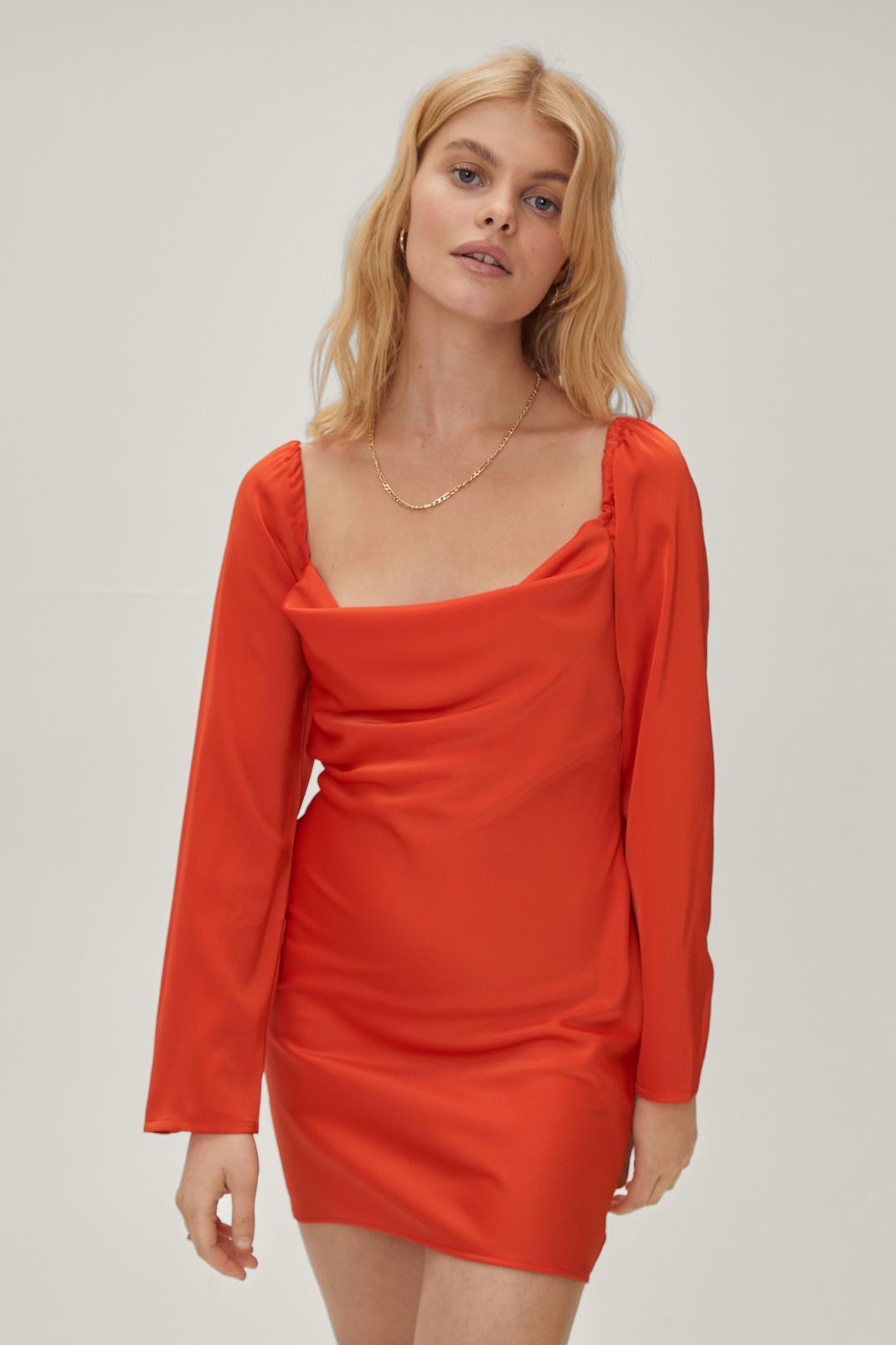 Petite Cowl Neck Split Sleeve Mini Dress | Nasty Gal