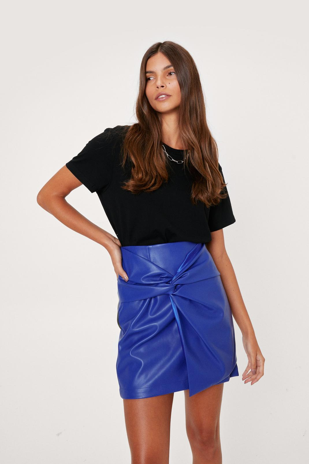 Faux Leather Knot Detail Mini Skirt   Nasty Gal
