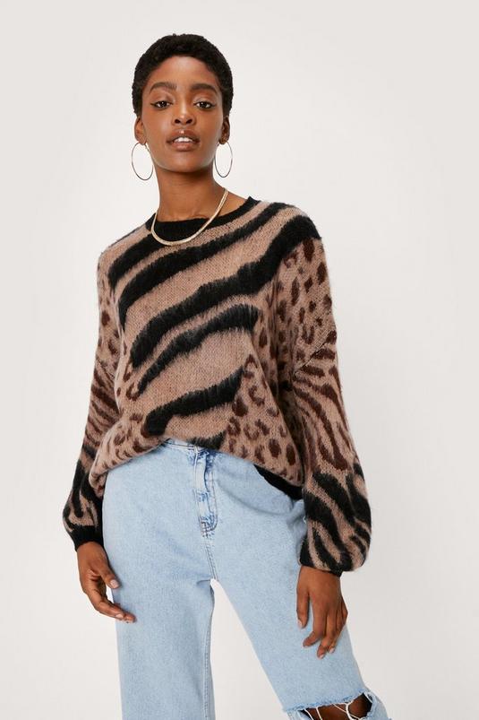 Mixed Animal Print Oversized Sweater   NastyGal (UK, IE)