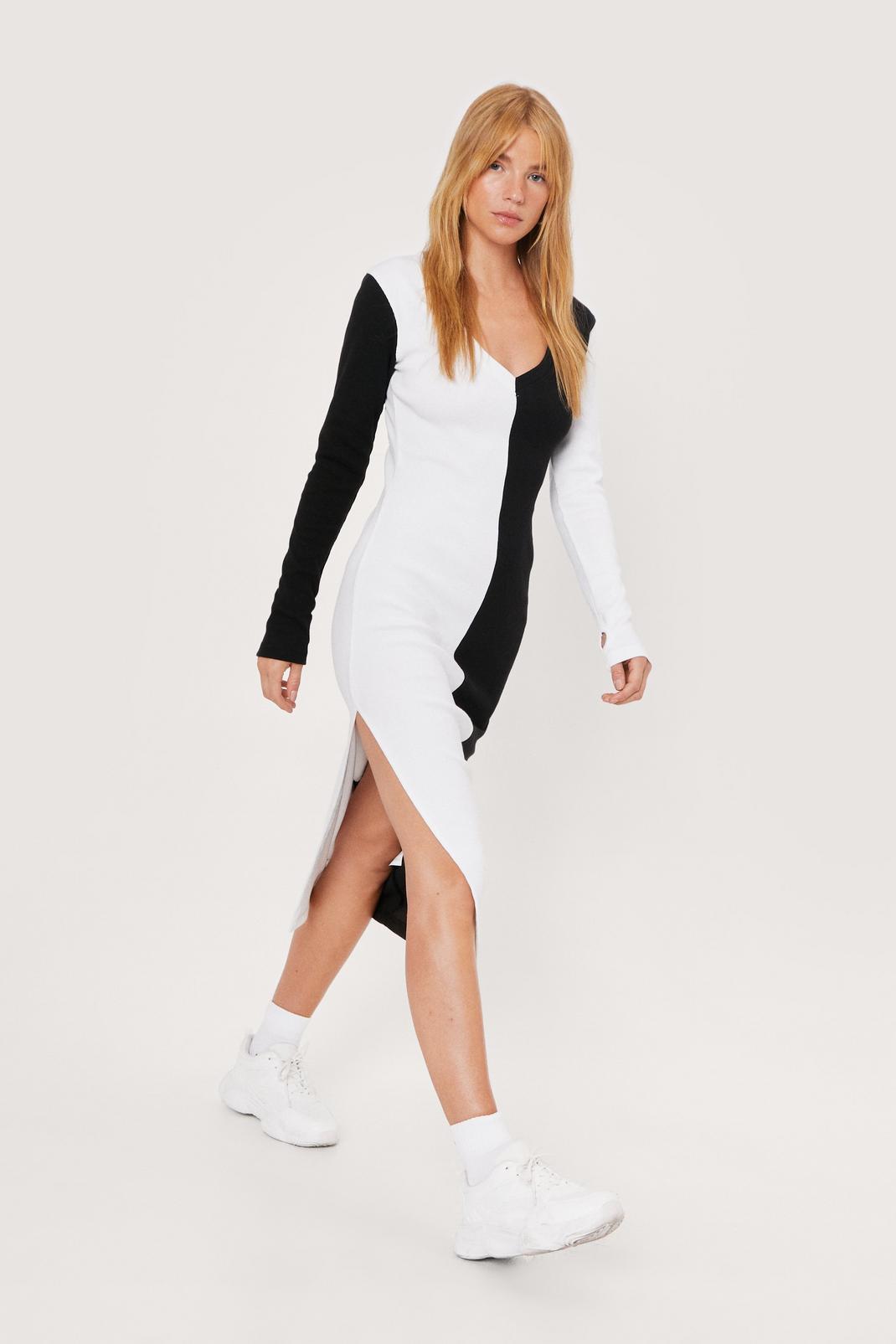 Petite Ribbed Colourblock Midi Dress | NastyGal (FR)
