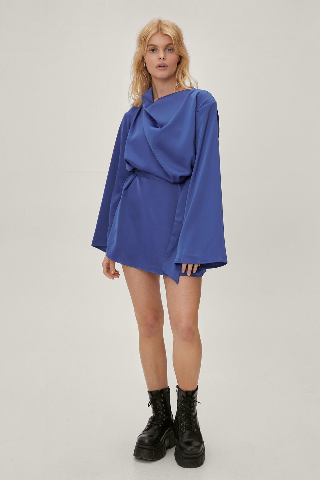 Petite Cowl Neck Flared Sleeve Mini Dress | Nasty Gal