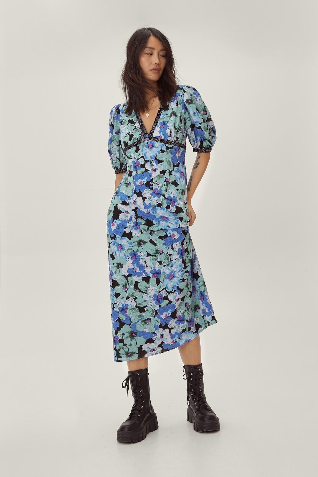 Floral Spotty Print Mix Midi Tea Dress | Nasty Gal