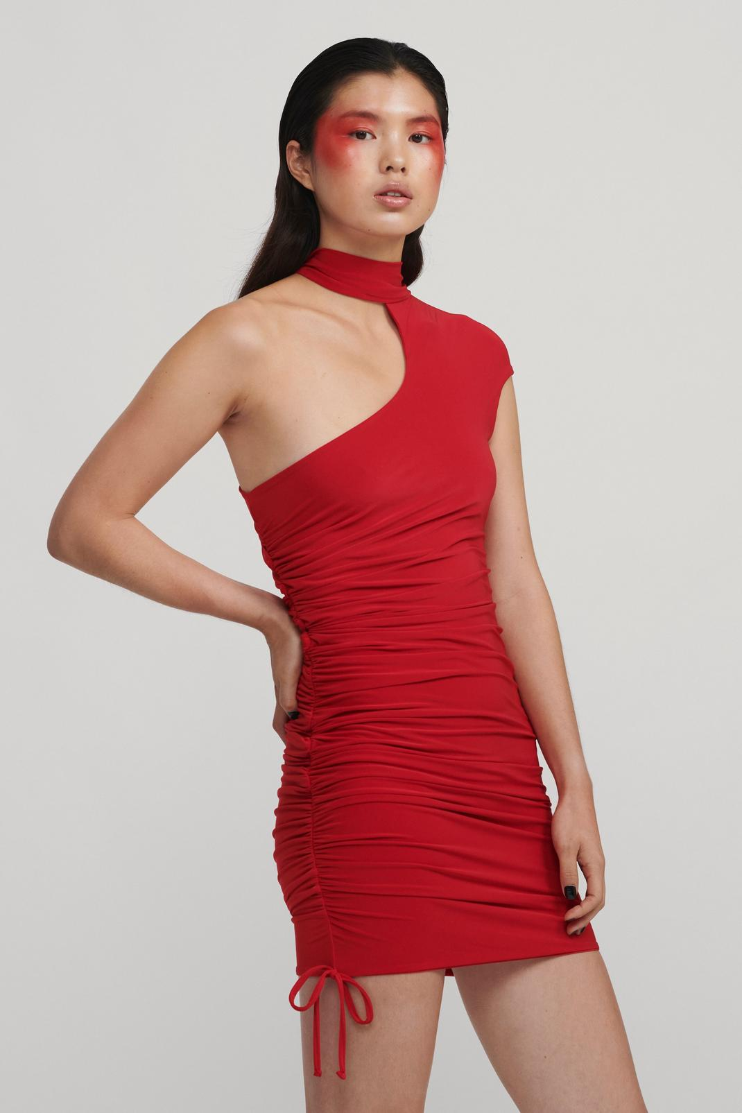 Asymmetric Slinky Side Ruche Mini Dress   Nasty Gal