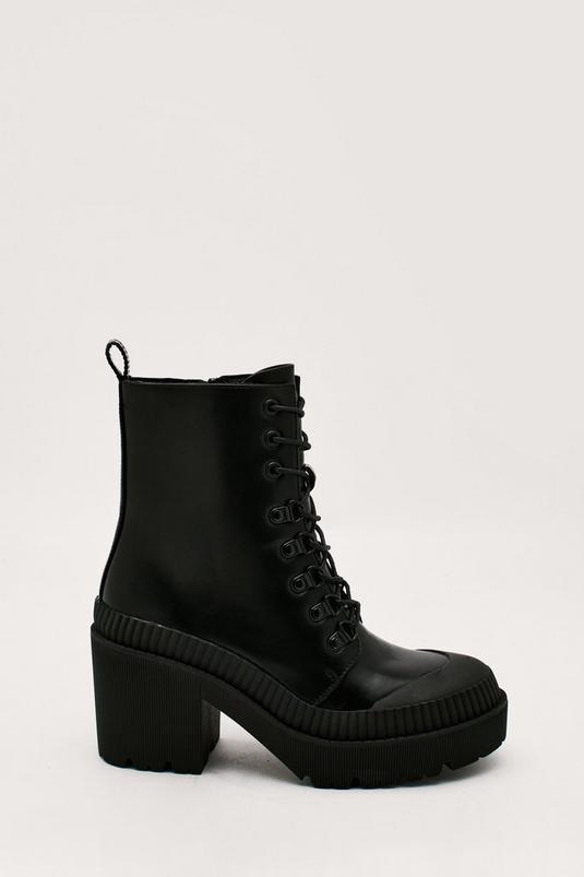 Faux Leather Block Heel Biker Boot   NastyGal