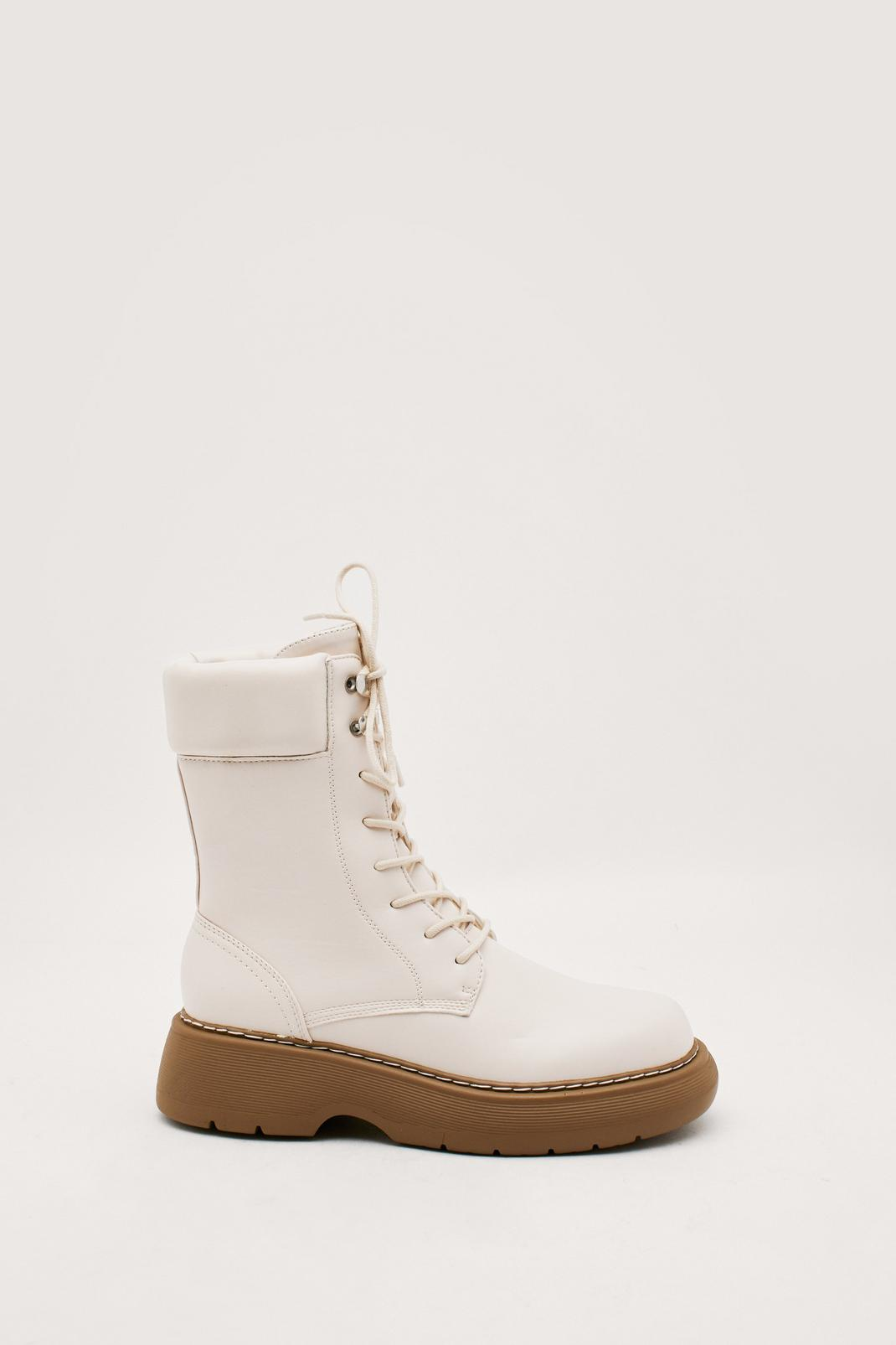 Faux Leather High Lace Up Biker Boots   NastyGal (FR)