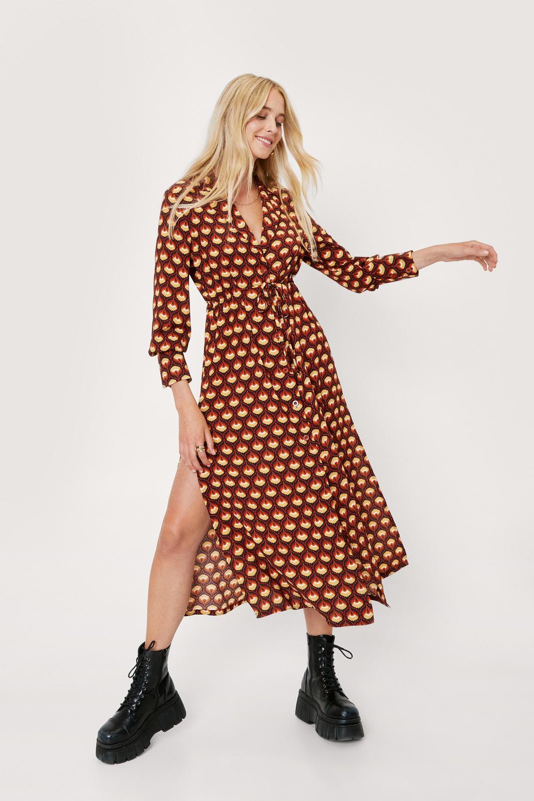 Retro Print Midaxi Shirt Dress | Nasty Gal