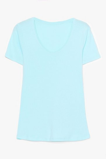 Blue It's Just That Simple V-Neck Tee