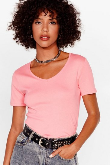Coral It's Just That Simple V-Neck Tee