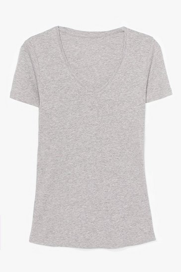 Grey V Neck Cotton Tee