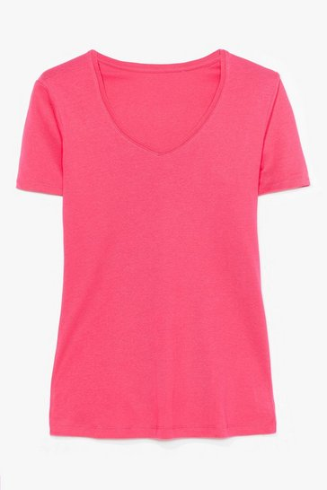 Hot pink V Neck Cotton Tee