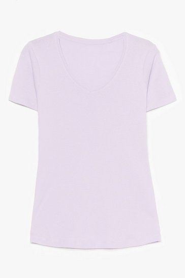 Lilac V Neck Cotton Tee