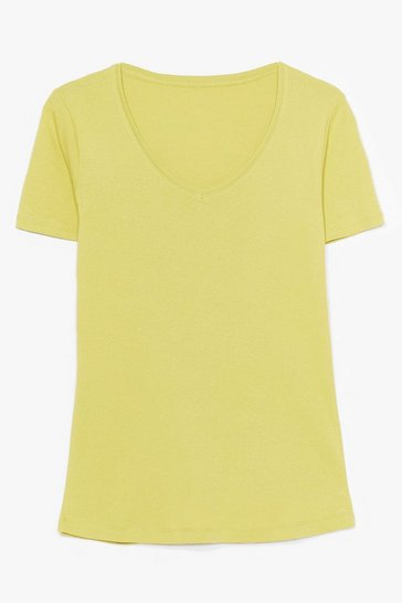 Lime V Neck Cotton Tee