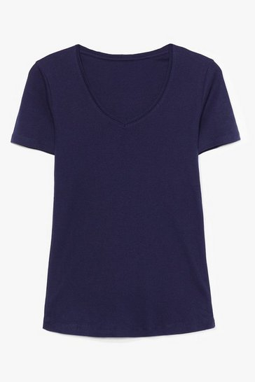 Navy V Neck Cotton Tee