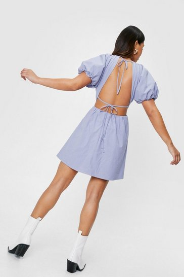 Cornflower blue Linen Look Open Back Mini Dress