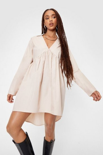 Almond Oversized Poplin Smock Shirt Mini Dress