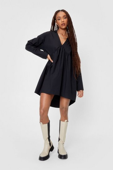 Black Oversized Poplin Smock Shirt Mini Dress