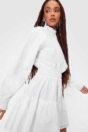 White Poplin Shirred Waist Smock Mini Dress