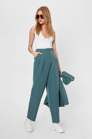 Teal Here Goals Nothing Tailored Straight-Leg Pants