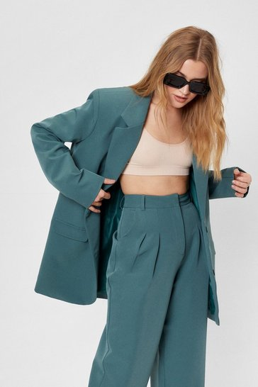 Teal Here Goals Nothing Oversized Tailored Blazer