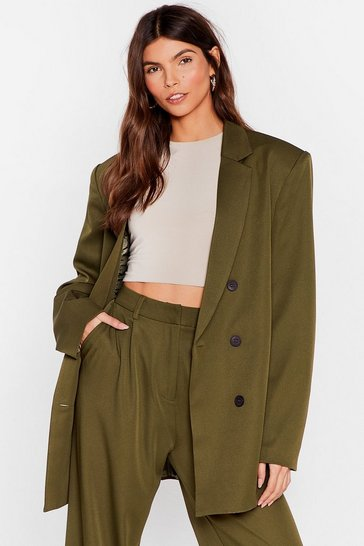 Olive Sorry We're Working Late Oversized Blazer