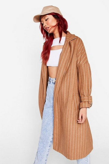 Camel Striped Faux Wool Longline Belted Jacket