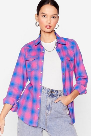 Purple Check On It Relaxed Shirt