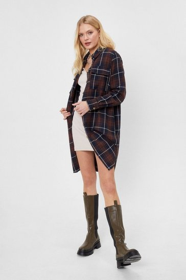 Brown Longline Story Short Check Shirt Jacket
