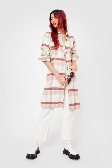 Sand Longline Story Short Check Shirt Jacket