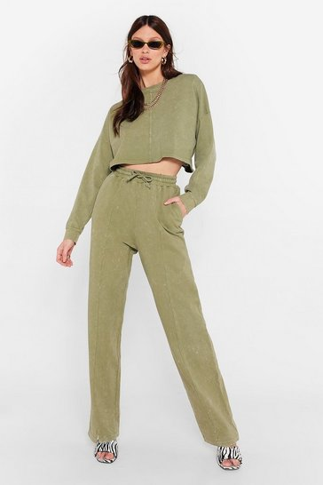 Khaki Acid Wash Wide Leg Loungewear Set