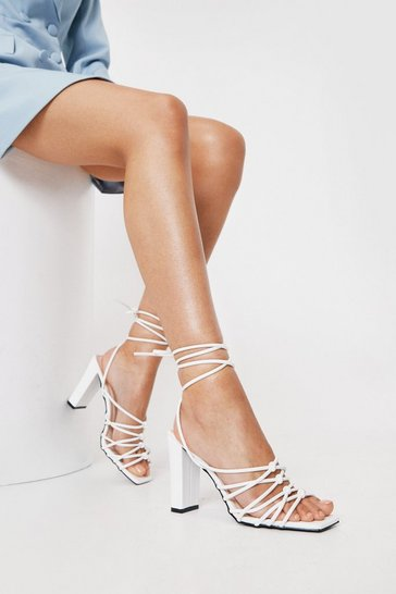 White Faux Leather Knotted Tie Heeled Sandals
