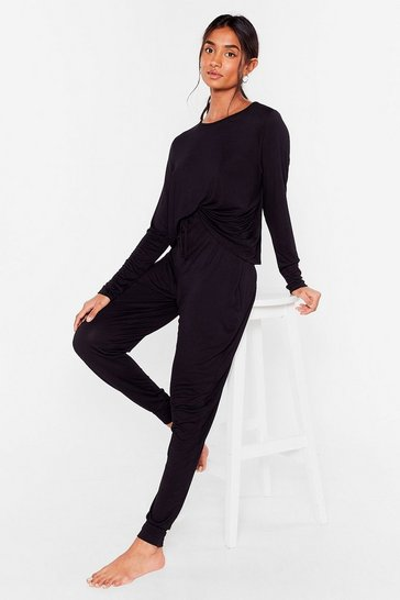 Black Jersey Top and Sweatpants Loungewear Set