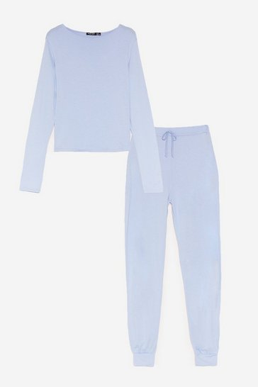 Blue Time to Unwind Joggers Lounge Set