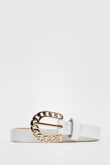 White Chain-ge the Game Faux Leather Croc Belt