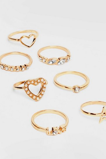 Gold 7-Pc Diamante Ring Set