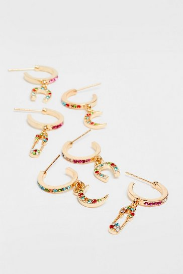 Gold Bling the Action 3-Pc Hoop Earring Set