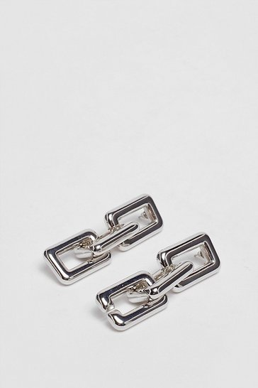 Silver Let's Link Up Chunky Chain Drop Earrings