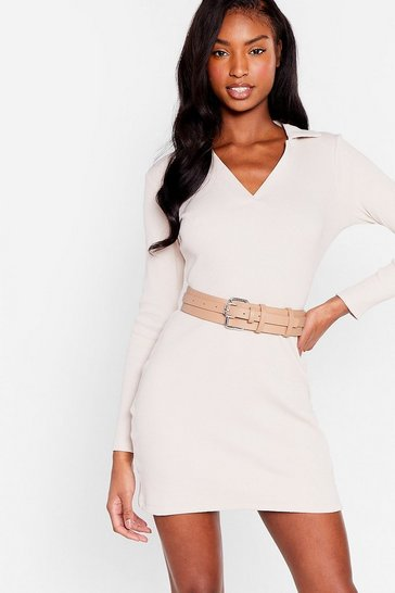 Nude Double or Nothing Faux Leather Buckle Belt