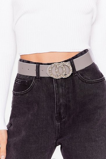 Stone Double the Trouble Circle Faux Leather Belt