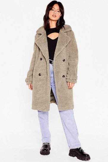 Sage Moving Fur-ward Longline Faux Shearling Coat