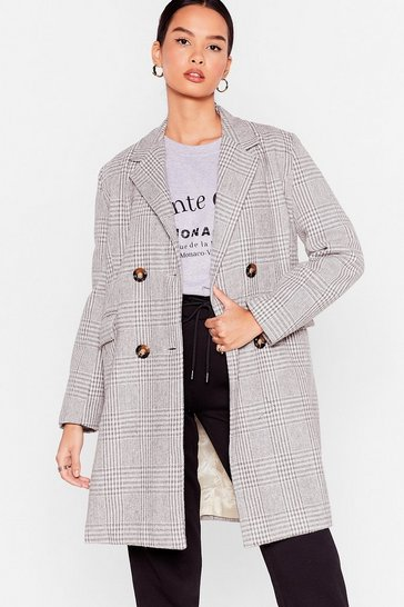 White Write a Check Double Breasted Longline Coat