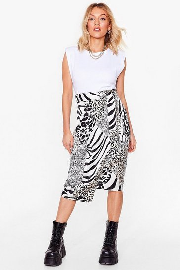 White Guess Our Spirit Animal Petite Midi Skirt