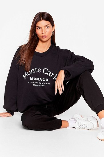 Black Monte Carlo Slouchy Graphic Sweatshirt