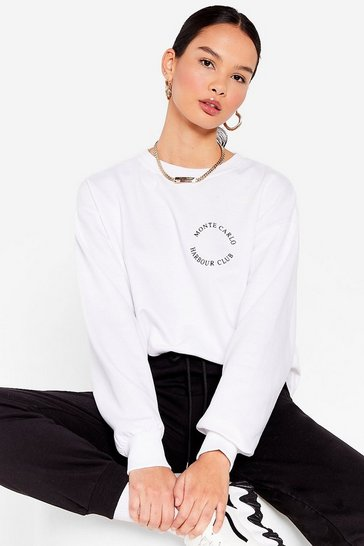 White Monte Carlo Oversized Graphic Sweatshirt