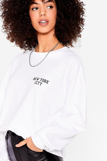 White Concrete Jungle Oversized Graphic Sweatshirt