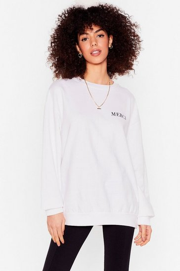 White Merci Pocket Graphic Oversized Sweatshirt